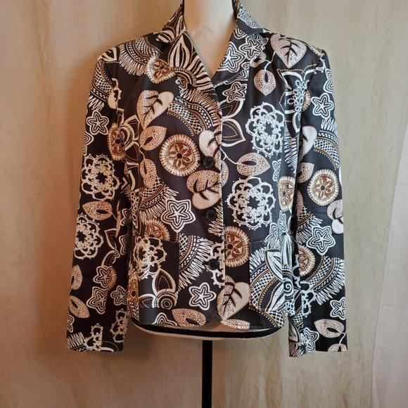 Leslie Fay Floral Blazer Jacket Size 16